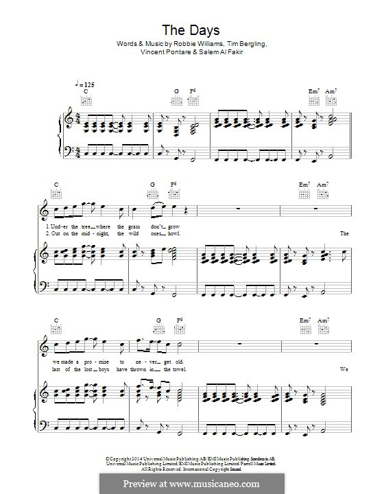 The Days (feat. Robbie Williams): Для голоса и фортепиано (или гитары) by Robbie Williams, Avicii, Vincent Pontare, Salem Al Fakir