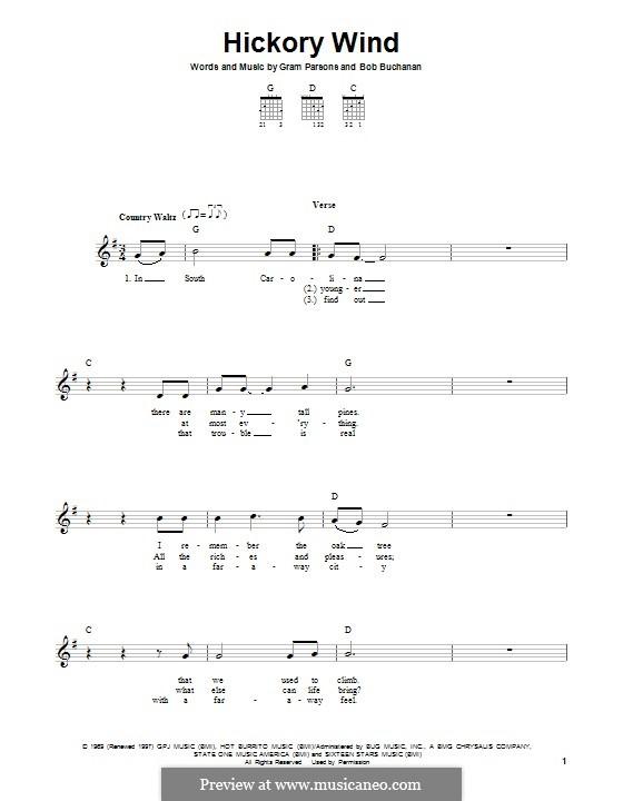 Hickory Wind: Для гитары с табулатурой by Bob Buchanan, Gram Parsons