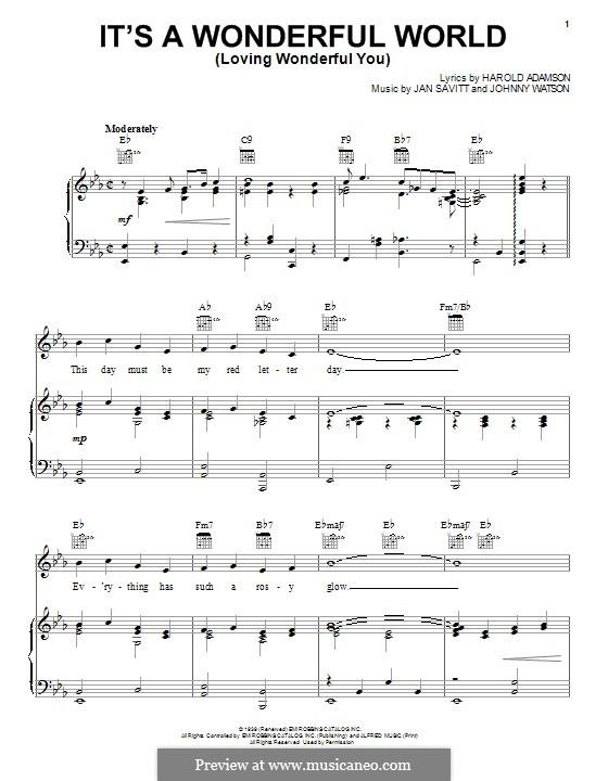 It's a Wonderful World (Loving Wonderful You): Для голоса и фортепиано (или гитары) by Jan Savitt, Johnny Watson