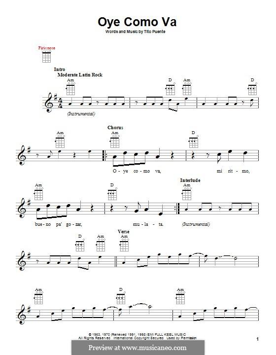 Oye Como Va (Santana): Для укулеле by Tito Puente