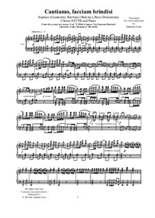 Любовный напиток: Cantiamo, facciam brindisi, for solo voices, choir SSTTB and piano, CSDG4 by Гаэтано Доницетти