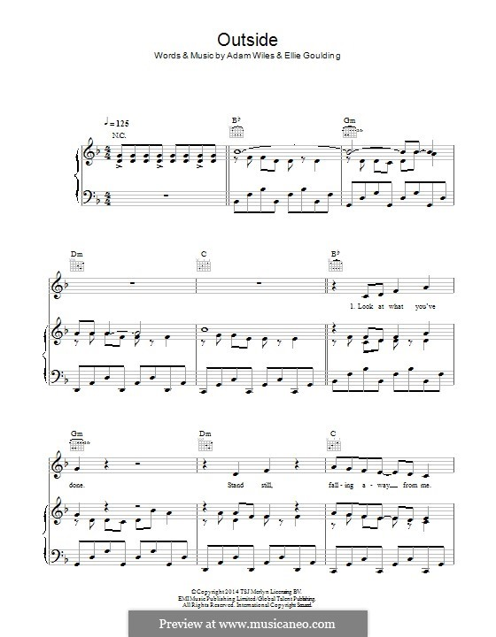 Outside (feat. Ellie Goulding): Для голоса и фортепиано (или гитары) by Adam Wiles, Ellie Goulding