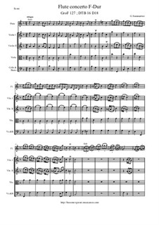 Flute Concerto in F Major, DTB16 D18: Score, parts by Джузеппе Саммартини