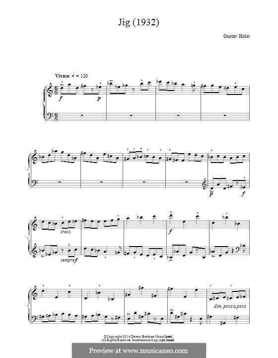 Jig (1932): Для фортепиано by Густав Холст