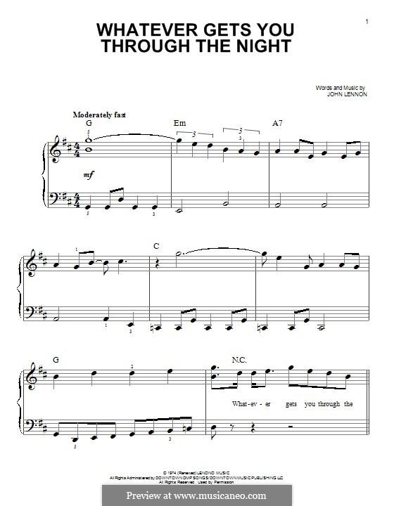 Whatever Gets You Through the Night: Для фортепиано by John Lennon