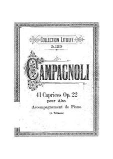 Сорок один каприс для альта, Op.22: Аранжировка для альта и фортепиано by Бартоломео Кампаньоли