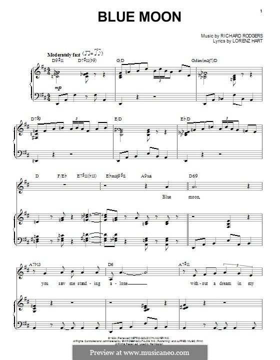 Blue Moon: Для голоса и фортепиано by Richard Rodgers