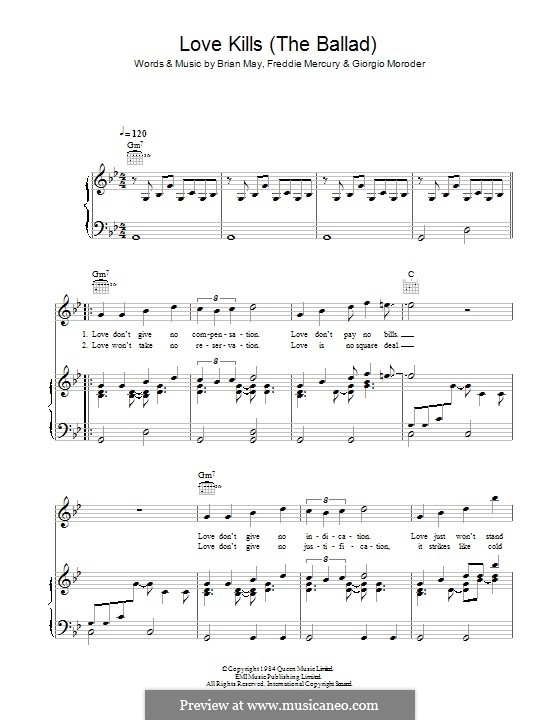 Love Kills (The Ballad): Для голоса и фортепиано (или гитары) by Brian May, Freddie Mercury, Giorgio Moroder