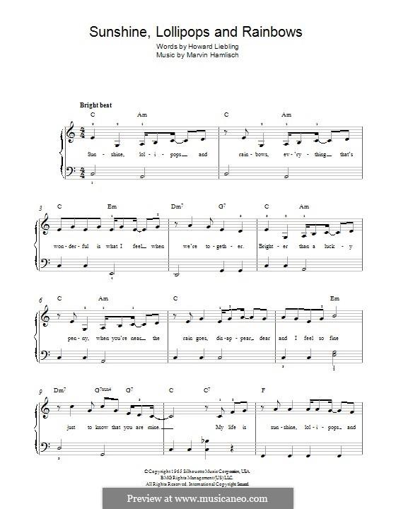 Sunshine, Lollipops and Rainbows: Для фортепиано by Marvin Hamlisch