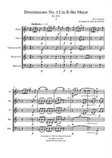 Дивертисмент No.12 ми-бемоль мажор, K.252: For wind quintet by Вольфганг Амадей Моцарт