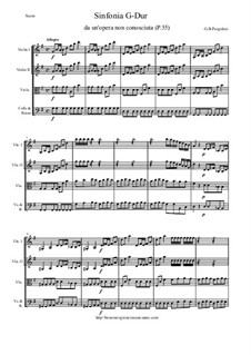 Sinfonia G-Dur, P.35: Score and parts by Джованни Баттиста Перголези