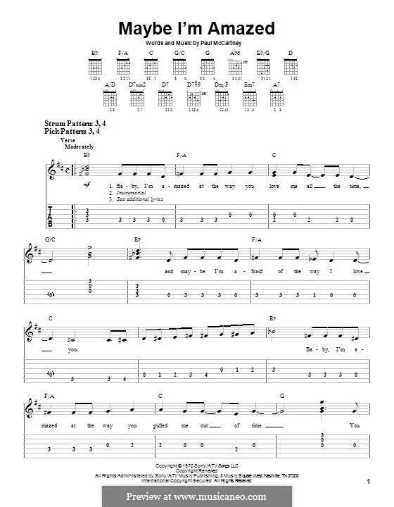 Maybe I'm Amazed: Для гитары с табулатурой by Paul McCartney