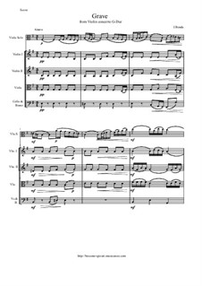 Grave from Violin Concerto G-Dur: Version for viola and string orchestra - score and all parts by Иоганн Бенда