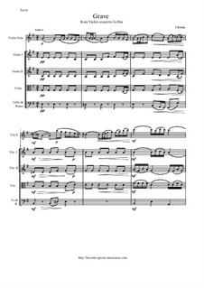 Grave from Violin Concerto G-Dur: Version for violin and string orchestra - score and all parts by Иоганн Бенда