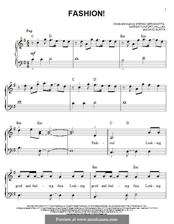 Fashion! (Lady Gaga): Для фортепиано by David Guetta, Giorgio Tuinfort, Stefani Germanotta, will.i.am
