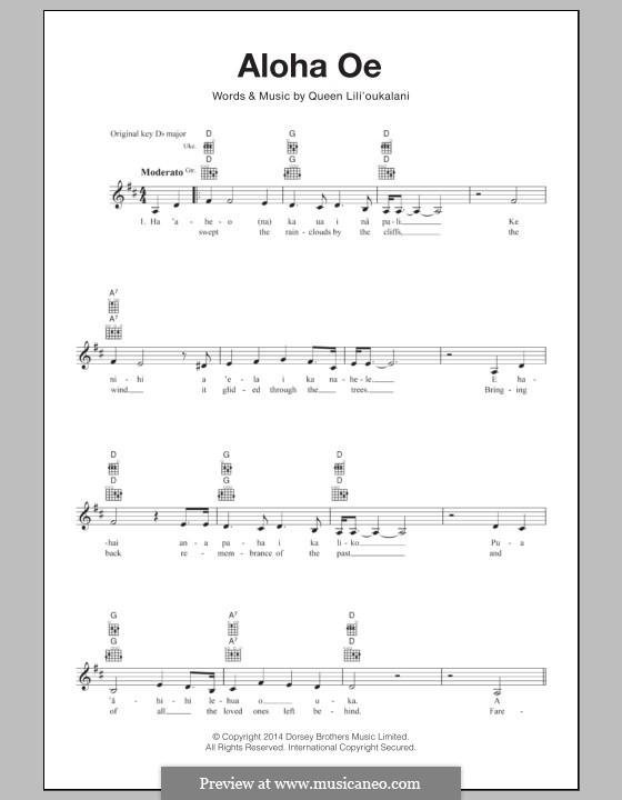 Aloha 'Oe: Для укулеле by Лидия Лилиуокалани