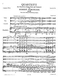 Фортепианный квартет ми-бемоль мажор, Op.47: Партитура by Роберт Шуман
