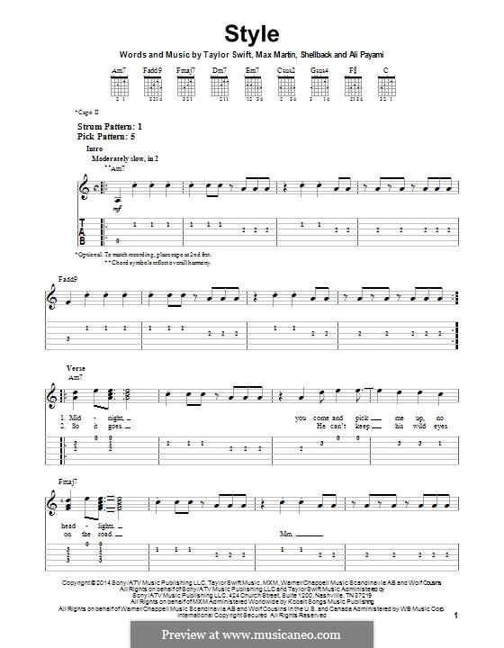 Style: Для гитары с табулатурой by Shellback, Max Martin, Taylor Swift, Ali Payami