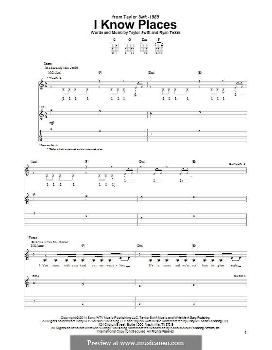 I Know Places: Для гитары с табулатурой by Ryan B Tedder, Taylor Swift