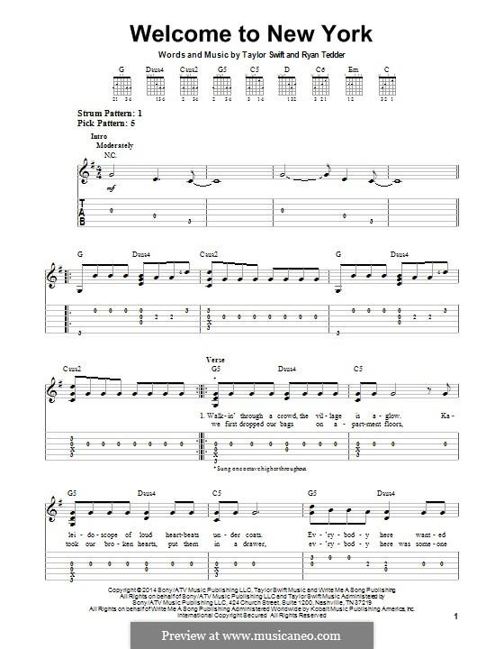 Welcome to New York: Для гитары с табулатурой by Ryan B Tedder, Taylor Swift