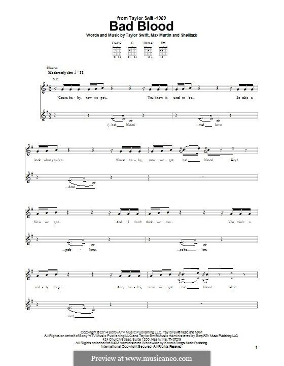 Bad Blood: Для гитары с табулатурой by Shellback, Max Martin, Taylor Swift