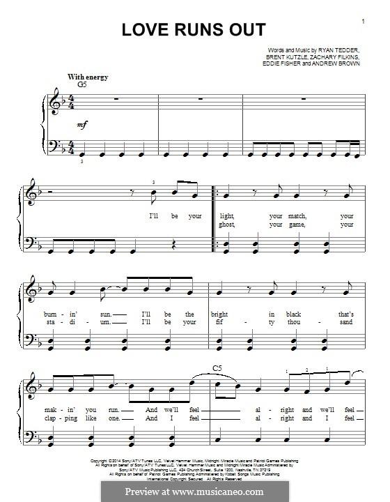 Love Runs Out (One Republic): Для фортепиано by Andrew Brown, Brent Kutzle, Eddie Fisher, Ryan B Tedder, Zachary Filkins