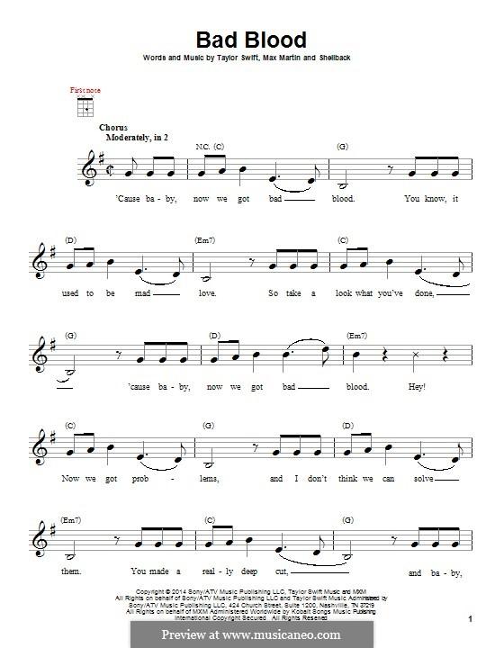 Bad Blood: Для укулеле by Shellback, Max Martin, Taylor Swift