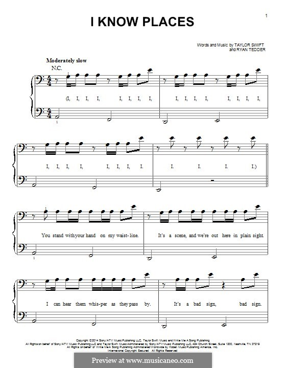 I Know Places: Для фортепиано by Ryan B Tedder, Taylor Swift
