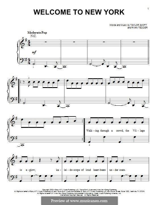 Welcome to New York: Для фортепиано by Ryan B Tedder, Taylor Swift