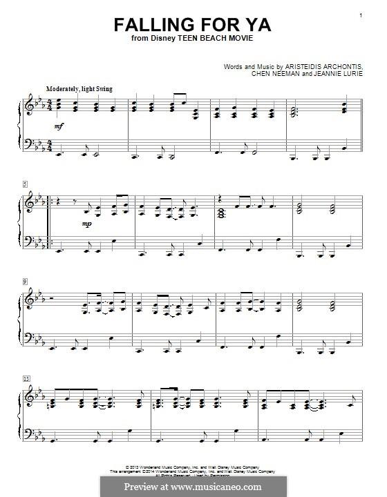 Falling for Ya (from Teen Beach Movie): Для фортепиано by Aris Archontis, Chen Neeman, Jeannie Lurie