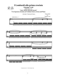 Ломбардцы в первом крестовом походе: Salve Maria! di grazie il petto, for two sopranos, tenor and piano, CSGV10 by Джузеппе Верди