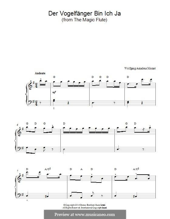 Ария Папагено: Для фортепиано by Вольфганг Амадей Моцарт