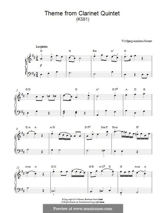 Квинтет для кларнета и струнных инструментов ля мажор, K.581: Movement II, for easy piano (fragment) by Вольфганг Амадей Моцарт