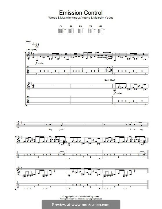 Emission Control (AC/DC): Для гитары с табулатурой by Angus Young, Malcolm Young