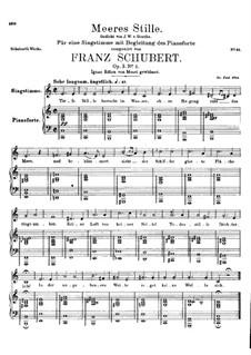 Морская тишь, D.216 Op.3 No.2: Для высокого голоса и фортепиано by Франц Шуберт