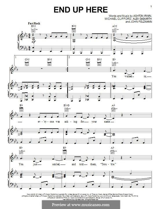 End Up Here (5 Seconds of Summer): Для голоса и фортепиано (или гитары) by Alex Gaskarth, John Feldmann, Michael Clifford, Ashton Irwin