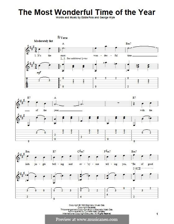 The Most Wonderful Time of the Year: Для гитары с табулатурой by George Wyle, Edward Pola