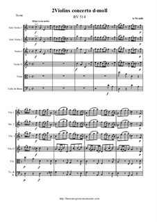 Concerto for Two Violins and Strings in D Minor, RV 514: Score and all parts by Антонио Вивальди