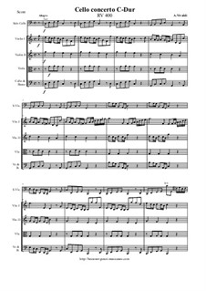 Concerto for Cello and Strings in C Major, RV 400: Score and all parts by Антонио Вивальди