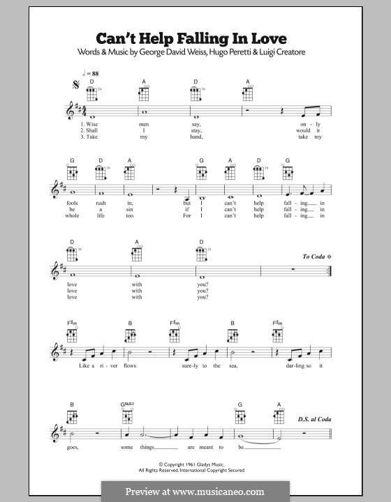 Can't Help Falling in Love: For ukulele (UB40) by George David Weiss, Hugo Peretti, Luigi Creatore