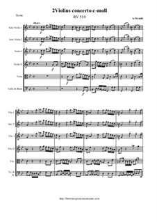 Concerto for Two Violins and Strings in C Minor, RV 510: Score and all parts by Антонио Вивальди