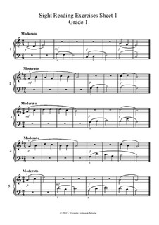 Sight Reading Exercises-Grade 1: Sight Reading Exercises-Grade 1 by Yvonne Johnson