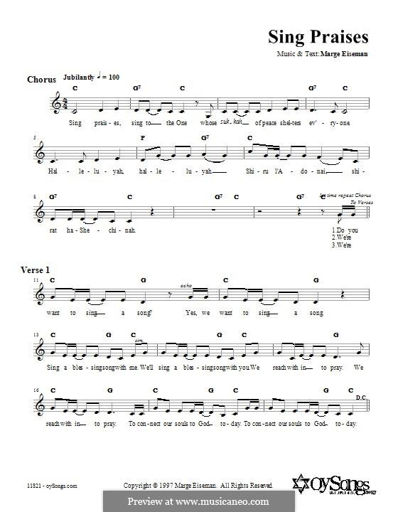 Sing Praises: Текст, аккорды by Marge Eiseman