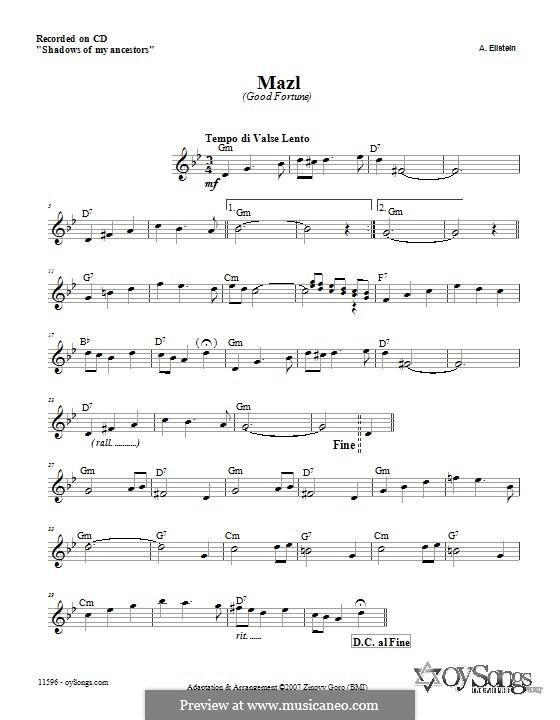 Mazl (Zinovy Goro): Текст, аккорды by A. Ellstein