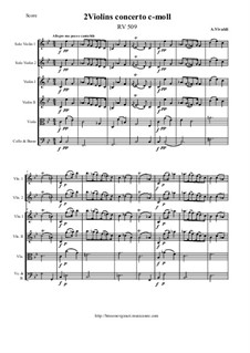 Concerto for Two Violins and Strings in C Minor, RV 509: Score and all parts by Антонио Вивальди