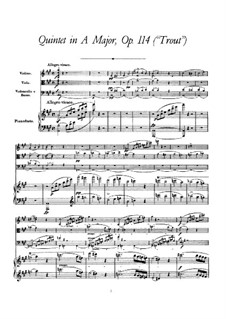 Квинтет для струнных и фортепиано 'Форель', D.667 Op.114: Партитура by Франц Шуберт