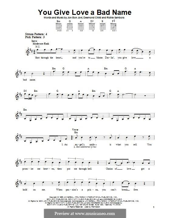 You Give Love a Bad Name (Bon Jovi): Гитарная табулатура by Desmond Child, Jon Bon Jovi, Richie Sambora