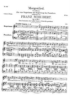 Утренняя песня, D.685 Op.4 No.2: Для высокого голоса и фортепиано by Франц Шуберт