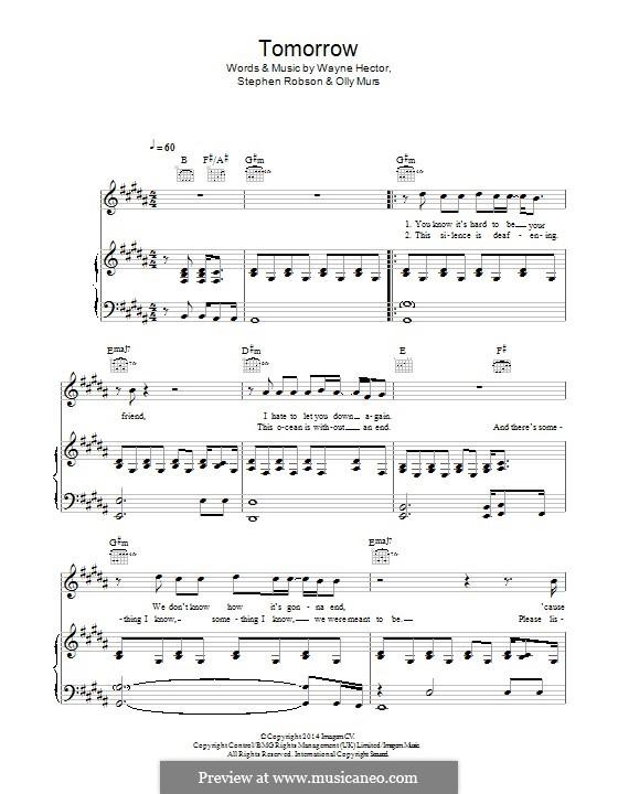 Tomorrow: Для голоса и фортепиано (или гитары) by Olly Murs, Steve Robson, Wayne Anthony Hector