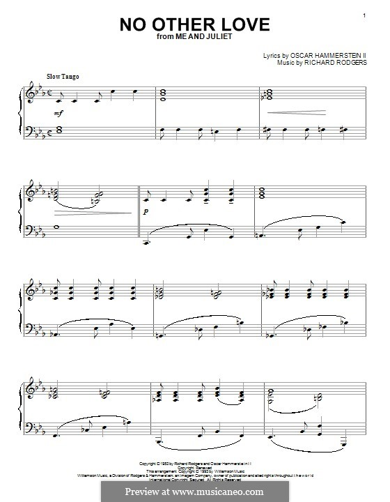No Other Love (from Me and Juliet): Для фортепиано by Richard Rodgers